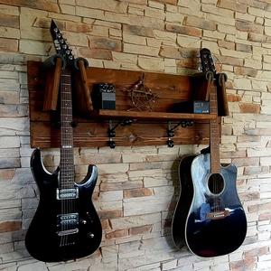 Egyedi gitártartó és polc, Otthon & lakás, Bútor, Polc, Dekoráció, Lakberendezés, Tárolóeszköz, Famegmunkálás, Egyedi fali gitártartó eladó. Rendelésre készítek többféle méretben, színben, akár 3-4 gitár tárolás..., Meska