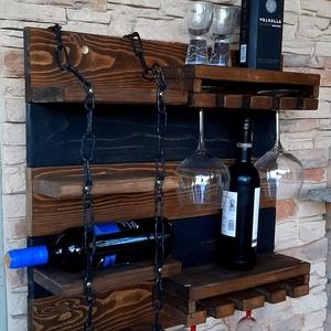 Egyedi bortartó, italtartó, pohártartó, polc, Otthon & lakás, Bútor, Polc, Konyhafelszerelés, Lakberendezés, Tárolóeszköz, Famegmunkálás, Fából készült bortartó. Mérete: 56cm magas, 60cm széles.Falra szerelhető Több borosüveg, és borospoh..., Meska