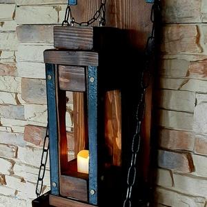 Rusztikus fali lámpás, gyertyatartó, dekoráció, Otthon & Lakás, Lámpa, Fali & Mennyezeti lámpa, Fémmegmunkálás, Famegmunkálás, Nagyméretű fali dekoráció, dió színben. A fali tartó, megy önálló gyertyatartóként is használható, 6..., Meska