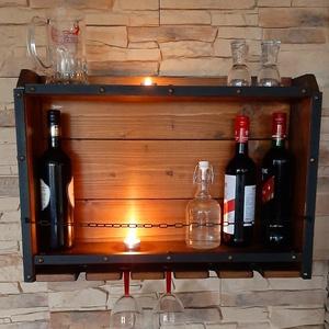 Rusztikus bortartó, italtartó, Otthon & Lakás, Konyhafelszerelés, Bortartó, Fémmegmunkálás, Famegmunkálás, Rusztikus bortartó, italtartó dió színben. 60cm hosszú, 45cm magas, 12cm mély., Meska