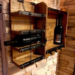 Rusztikus bortartó, italtartó, Otthon & Lakás, Konyhafelszerelés, Bortartó, Famegmunkálás, Egyedi bortartó dió színben. 60cm hosszú, 45cm magas, 12cm mély. Egyedi méretben is készülhet, válas..., Meska