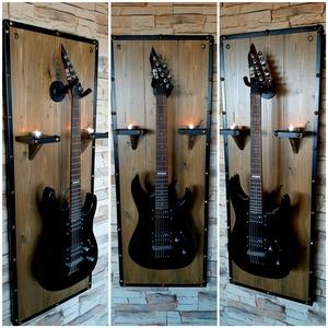 Gitártartó, Otthon & Lakás, Dekoráció, Falra akasztható dekor, Fali gitártartó, sonoma tölgy színben. 120cm magas, 45cm széles. Feketére festett acélkeretben, bron..., Meska