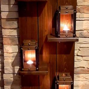 Egyedi fali polc, lámpásokkal, Otthon & Lakás, Dekoráció, Falra akasztható dekor, Fémmegmunkálás, Famegmunkálás, Egyedi fali polc dió színben, 4db lámpással. 100cm magas, 45cm széles. Megrendelés csak a vételár el..., Meska