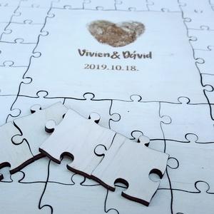 Puzzle vendégkönyv ( esküvői vendégkönyv ) ES0001, Vendégkönyv, Emlék & Ajándék, Esküvő, Famegmunkálás, Gravírozás, pirográfia, Egyedivé teheted életed nagy napját.\nA téglalap alakú fa puzzle vendégkönyv minden egyes darabjára í..., Meska