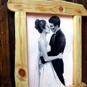 Fa képkeret, Esküvő, Férfiaknak, Vőlegényes, Otthon & lakás, Lakberendezés, Képkeret, tükör, Famegmunkálás, Hasított tömör fából készült képkeret. A jelenleg benne lévő kép mérete A4 től 0,5 cm.-rel kevesebb...., Meska