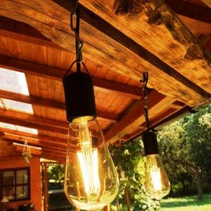 Mennyezeti lámpa, Fali & Mennyezeti lámpa, Lámpa, Otthon & Lakás, Famegmunkálás, Vastag tömör fából készült egyedi mennyezeti lámpa. Lelógását szabályozni lehet a rajta lévő karabín..., Meska