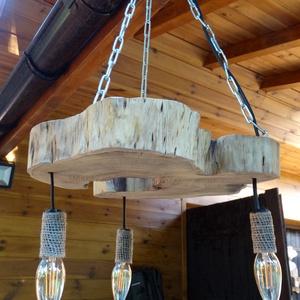Egyedi lámpa, Otthon & Lakás, Lámpa, Fali & Mennyezeti lámpa, Famegmunkálás, Akácfából készült egyedi mennyezeti lámpa. A 3 db. új, halvány borostyán színű LED izzót /kb. 4000.-..., Meska