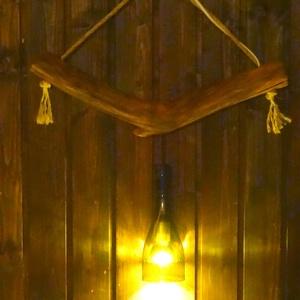 Akác mennyezeti lámpa, Otthon & Lakás, Lámpa, Fali & Mennyezeti lámpa, Famegmunkálás, Természetes formájú, akácfából készült mennyezeti lámpa. A benne lévő Led izzót a lámpához adom. Mér..., Meska