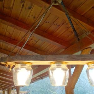 Mennyezeti lámpa, Otthon & Lakás, Lámpa, Fali & Mennyezeti lámpa, Famegmunkálás, Tömör tölgyfából és új befőttes üvegekből készült mennyezeti lámpa. Az üvegek 550ml.-ek. A lámpa hos..., Meska