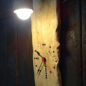 Visszafelé járó óra és lámpa, Otthon & Lakás, Lámpa, Fali & Mennyezeti lámpa, Famegmunkálás, Meska