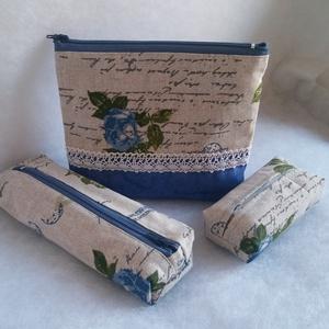 Kék rózsás vintage neszesszer szett, Táska, Divat & Szépség, Táska, Neszesszer, Pénztárca, tok, tárca, Zsebkendőtartó, Varrás, Ugyanabból az anyagból készült a szett minden darabja, a szett tartalma 1 db. neszesszer, 1 db. toll..., Meska