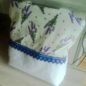 Levendulás fehér táska, Táska & Tok, Válltáska, Kézitáska & válltáska, Ezt a nagyon szép és divatos táskát levendula mintás és fehér színű pamutvászonból készítettem, kirá..., Meska