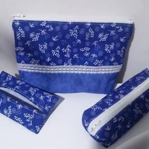 Kékfestő neszesszer szett, Táska & Tok, Neszesszer, Ugyanabból az anyagból készült a szett minden darabja, a szett tartalma 1 db. neszesszer, 1 db. toll..., Meska