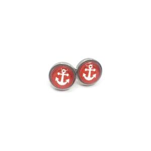 Tengerész, hajós nemesacél fülbevaló, piros horgony - két méretben, Ékszer, Fülbevaló, Ékszerkészítés, A tenger, a víz, a hajózás szerelmeseinek. Ezt a hajós nemesacél fülbevalót több mintával, két mére..., Meska