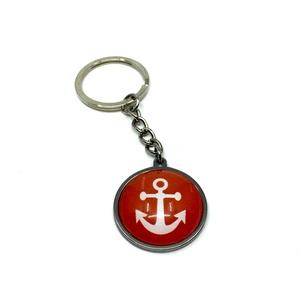 Tengerész, hajós kulcstartó, táskadísz - piros, horgony, Férfiaknak, Táska, Divat & Szépség, Kulcstartó, táskadísz, Ékszerkészítés, A tenger, a víz, a hajózás szerelmeseinek. Ezt a hajós nemesacél alapú kiegészítőt használhatod kulc..., Meska