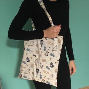 Hangszer mintás táska, szatyor, válltáska, bevásárló táska, tini vászon táska, Táska & Tok, Kézitáska & válltáska, Varrás, Meska