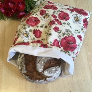 Nagy méretű kenyeres zsák, pamutvászon frissentartó PUL béléssel - pipacs, pipacsos, Táska & Tok, Bevásárlás & Shopper táska, Kenyeres zsák, Varrás, Meska