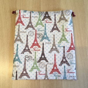 Uzsonnás tasak, zsemletartó, kiflis zsák, pamutvászon frissentartó PUL béléssel - Párizs, Eiffel torony - táska & tok - bevásárlás & shopper táska - kenyeres zsák - Meska.hu