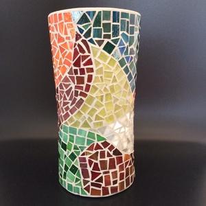 Üvegmozaik váza - színkavalkád, Otthon & lakás, Lakberendezés, Kaspó, virágtartó, váza, korsó, cserép, Gyertya, mécses, gyertyatartó, Mozaik, Ezt a színes, vidám vázát használhatod vázaként, de nagy méretű mécsestartóként is. Különleges hangu..., Meska