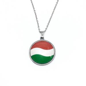 Magyar zászlós nemzetiszín nemesacél nyaklánc - női, férfi, Ékszer, Nyaklánc, Táska, Divat & Szépség, Magyar motívumokkal, Kokárda, Ékszerkészítés, Fotó, grafika, rajz, illusztráció, Szurkoláshoz, nemzeti ünnepekre, magyar ajándéknak vagy csak mert magyar vagy.\nA medál 2,5 cm, a a n..., Meska