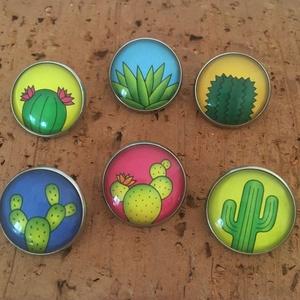 Kaktuszos kitűző szett - 6 darabos, Ékszer, Kitűző és Bross, Kitűző, Ékszerkészítés, Fotó, grafika, rajz, illusztráció, Kaktusz rajongóknak ajánlom ezt a 6 darabos nemesacél alapú kitűző szettet, mellyel díszítheted tásk..., Meska