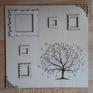 Képkeret fa mintával, Dekoráció, Otthon & lakás, Esküvő, Lakberendezés, Képkeret, tükör, Famegmunkálás, Gravírozás, pirográfia, Pirográf technikával készült, égetett fa képkeret 5 kicsi képkerettel, egyedileg, kézzel készítve. \n..., Meska
