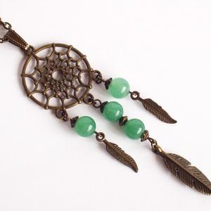 Bronz színű álomfogó nyaklánc, Ékszer, Nyaklánc,  Bronz színű szerelékekből és aventurin ásványgyöngyökből készült vagány nyaklánc. A lánc delfinkapc..., Meska