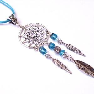 Álomfogó nyaklánc, Ékszer, Nyaklánc,  Antik ezüst színű szerelékekből és türkizkék  üveggyöngyből készült vagány nyaklánc. A lánc dupla v..., Meska