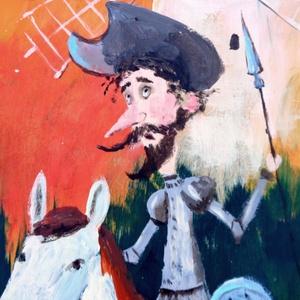 Don Quixote , Otthon & lakás, Lakberendezés, Képzőművészet, Festmény, Festészet, Fotó, grafika, rajz, illusztráció, INGYENES POSTA !  Eredeti akrilik festmenyem, faroston. Kepmeret : kb 27 x 45 cm. A szin elterhet a..., Meska