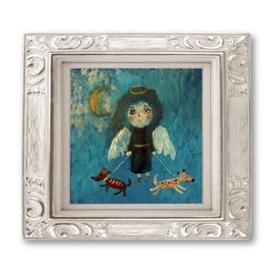 Angyal kiskutyákkal , Lakberendezés, Otthon & lakás, Képzőművészet, Falikép, Festészet, Fotó, grafika, rajz, illusztráció, Eredeti akril festmenyem.\nMeret kb : 20 x 20  cm.\nkarton papiron.\nA keret csak illusztracio ! \nA szi..., Meska