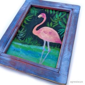 Flamingó , Akril, Festmény, Művészet, Festészet, Famegmunkálás, INGYENES POSTA !\n\nEredeti akrilik festmenyem.\nkulonleges, rusztikus kerettel!\nA szinek elterhetnek a..., Meska