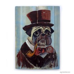 Mr. Bull , Otthon & lakás, Lakberendezés, Képzőművészet, Férfiaknak, Famegmunkálás, Festészet, INGYENES POSTA!\n\nRusztikus fara festett acrylic festmeny. \nfalra akaszthato.\n\nkb. 19 x 27 cm. \n\najan..., Meska