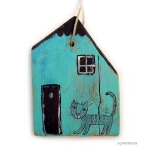 Bóklászó macsek, Dekoráció, Otthon & lakás, Lakberendezés, Famegmunkálás, Festett tárgyak, INGYENES POSTA!\n\nEgyedi, rusztikus fa dekoracio.\nkb. 16 x 12cm. + akaszto.\najanlottan postazom.\na po..., Meska