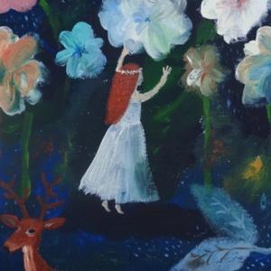Virág tündér, Dekoráció, Otthon & lakás, Képzőművészet, Festmény, Fotó, grafika, rajz, illusztráció, Festészet, INGYENES POSTA !\n\nSajat festmenyemrol keszult nyomat.\nMeret : A4.\nBarmilyen szabvany A4-es keretbe p..., Meska