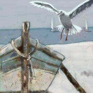 Csónak a parton , Otthon & lakás, Dekoráció, Képzőművészet, Fotó, grafika, rajz, illusztráció, Festészet, INGYENES POSTA !\n\nSajat grafikamrol keszult nyomat.\nMeret : A4.\nBarmilyen szabvany A4-es keretbe pas..., Meska