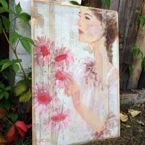Reggel a kertben, Akril, Festmény, Művészet, Festészet, Újrahasznosított alapanyagból készült termékek, INGYENES POSTA !\n\nEgyedi, akrilik festmeny rusztikus fara festve.\nA szinek elterhetnek a monitor bea..., Meska