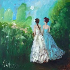 Lányok a kertben, Otthon & lakás, Lakberendezés, Képzőművészet, Festmény, Akril, Napi festmény, kép, Falikép, Festészet, Fotó, grafika, rajz, illusztráció, INGYENES POSTA !\n\nEredeti akrilik festmenyem, faroston.\n\nMeret : kb 33  x 33 cm.\nA keret csak illusz..., Meska