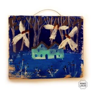 Csendes éj , Otthon & lakás, Dekoráció, Dísz, Lakberendezés, Karácsony, Karácsonyi dekoráció, Famegmunkálás, Festett tárgyak, Ingyenes posta\n\nEgyedi, rusztikus fa dekoracio.\nkb. 14.5 x 17.5 cm.\nA szinek elterhetnek a monitor b..., Meska