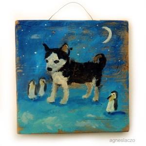Husky és a pingvinek , Otthon & lakás, Dekoráció, Dísz, Lakberendezés, Gyerek & játék, Festett tárgyak, Festészet, INGYENES POSTA !\n\nEgyedi, rusztikus fa dekoracio, falidisz.\nkb. 18 x 18 cm.\nA szinek elterhetnek a m..., Meska