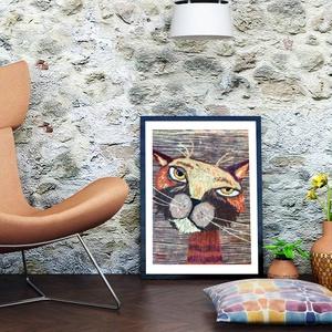 Csiki a macska , Otthon & lakás, Dekoráció, Képzőművészet, Illusztráció, Gyerek & játék, Gyerekszoba, Baba falikép, Kép, Fotó, grafika, rajz, illusztráció, Festészet, Sajat grafikamrol keszult nyomat.\nMeret; A4\nA szinek elterhetnek a monitor beallitasnak megfeleloen!..., Meska