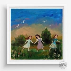 Szaladjunk !, Otthon & lakás, Képzőművészet, Festmény, Festészet, Fotó, grafika, rajz, illusztráció, Eredeti akrilik festmenyem, faroston.\n\nMeret : kb 28 x 28 cm.\nA keret csak illusztracio !\n\nA szinek ..., Meska