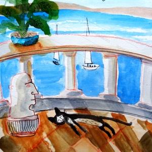 Görög nyár , Dekoráció, Otthon & lakás, Képzőművészet, Illusztráció, Fotó, grafika, rajz, illusztráció, Festészet, INGYENES POSTA !\n\nSajat grafikamrol keszult nyomat.\nMeret : A4.\nBarmilyen szabvany A4-es keretbe pas..., Meska