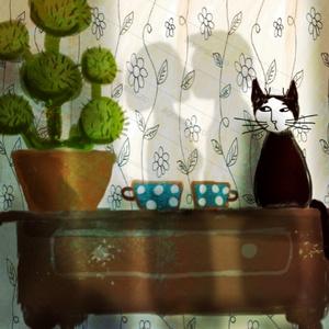 Kaktusz tea szerelem, Kép & Falikép, Dekoráció, Otthon & Lakás, Fotó, grafika, rajz, illusztráció, Festészet, \nSajat grafikamrol keszult nyomat.\nMeret : A4.\nBarmilyen szabvany A4-es keretbe passzol. \nA szinek a..., Meska