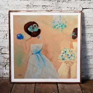 Kék csokor , Otthon & Lakás, Kép & Falikép, Dekoráció,  INGYENES POSTA !  Eredeti akrilik festmenyem, faroston.  Meret : kb 20 x 22.5 cm. A keret csak illu..., Meska