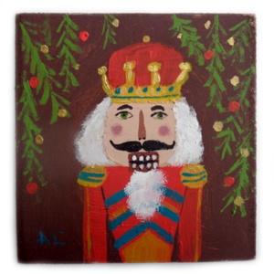Diótörő király, Művészet, Festmény, Akril, Festett tárgyak, Újrahasznosított alapanyagból készült termékek, INGYENES POSTA!\n\nEgyedi festmenyem faroston.\nkb. 14  x 14.5  cm \nA szinek elterhetnek a monitor beal..., Meska