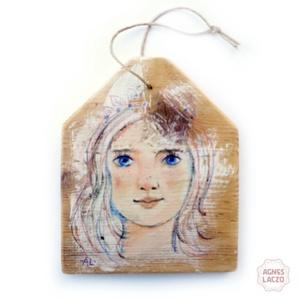 Búzavirágszemű, Otthon & lakás, Lakberendezés, Képzőművészet, Falikép, Festett tárgyak, Festészet, INGYENES POSTA \n\nEgyedi rusztikus fa dekoracio,\nfalra akaszthato.\n\nkb 15  cm x 18 cm.  ( + akaszto)\n..., Meska