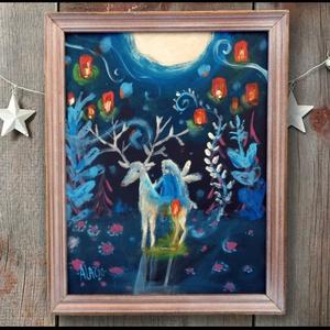 Fényhozó , Karácsonyi dekoráció, Karácsony & Mikulás, Otthon & Lakás, Festészet, Fotó, grafika, rajz, illusztráció, INGYENES POSTA\n\nEredeti festmenyem rusztikus keretben.\nAkrilikkal festve. \nA szinek elterhetnek a mo..., Meska
