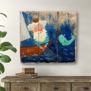 Az öreg halász és a tenger , Festmény vegyes technika, Festmény, Művészet, Festett tárgyak, Újrahasznosított alapanyagból készült termékek, INGYENES POSTA!\n\nEgyedi, sajat festmenyem, ami akrilikkal keszult, rusztikus fara. \nfalra akaszthato..., Meska