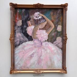 Balerina rózsaszínben , Akril, Festmény, Művészet, Festészet, Fotó, grafika, rajz, illusztráció, Eredeti akrilik festmenyem, faroston, nagyon szep regi keretben. \nA keret itt - ott hianyos, igazi a..., Meska