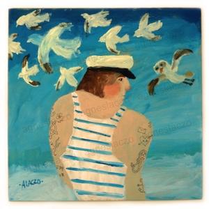 Egy csapat madár, Akril, Festmény, Művészet, Festészet, Fotó, grafika, rajz, illusztráció, INGYENES POSTA !\nEredeti akrilik festmenyem, faroston.\nKepmeret : kb 33 x 33 cm.\n\nA szinek elterhetn..., Meska